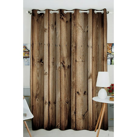 GCKG Vintage Rustic Knotty Old Barn Wood Window Curtain Kitchen Curtain Size 52(W) x 84 inches (One Piece)