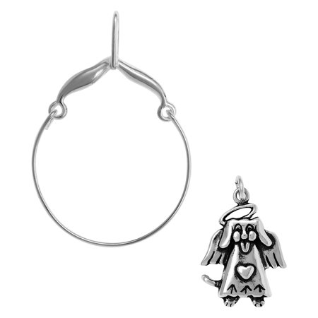 Sterling Silver Beagle Dog Charm (Sterling Silver Dog Angel Charm on a Curved Style Charm)