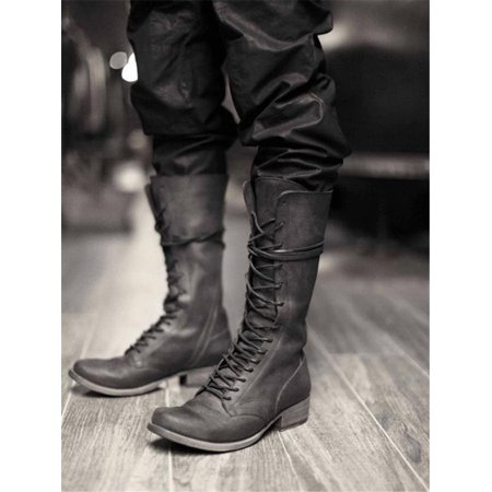 Men Mid-Calf Boots Lace Up Riding Long Boots