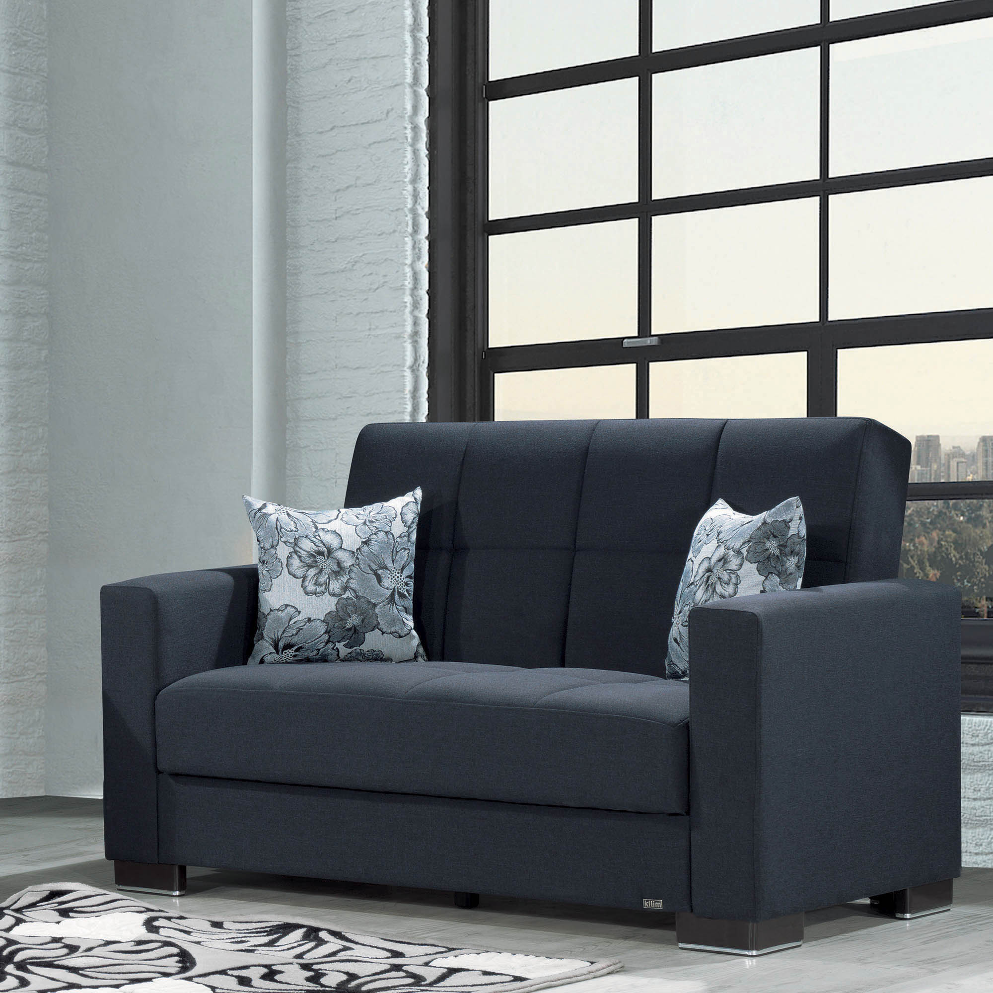 Armada Fabric Upholstery Love Seat with Storage