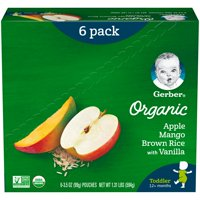 Gerber Organic Toddler Foods Baby Food, Apple Mango Brown Rice with Vanilla, 3.5 oz Pouch (Pack of 6)