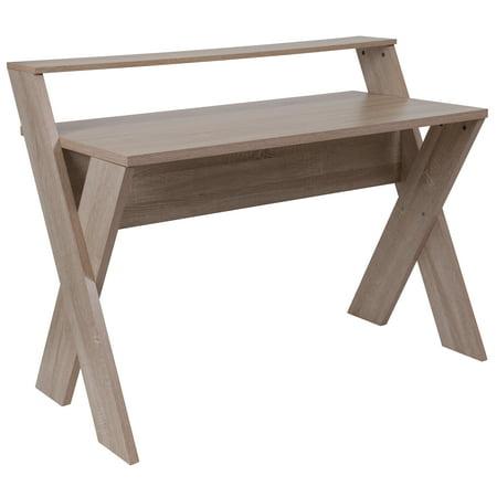 Flash Furniture Glenview Sonoma Oak Wood Grain Finish Computer Desk with Shelf