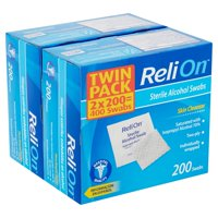(2 pack) ReliOn Skin Cleanser Sterile Alcohol Swabs Twin Pack, 400 count, 2 pack