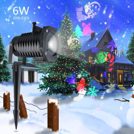 Lampwin Indoor& Outdoor Waterproof Projector Light Rotating Multicolor Slide 20pcs Switchable Pattern Lens Motion Images Decoration Lighting for Christmas, Halloween Garden Path Courtyard Party - Switchables Halloween
