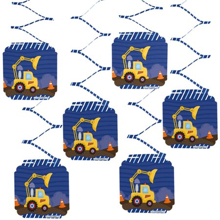Construction Truck - Baby Shower or Birthday Party Hanging Decorations - 6 Count - Baby Shower Hanging Decorations