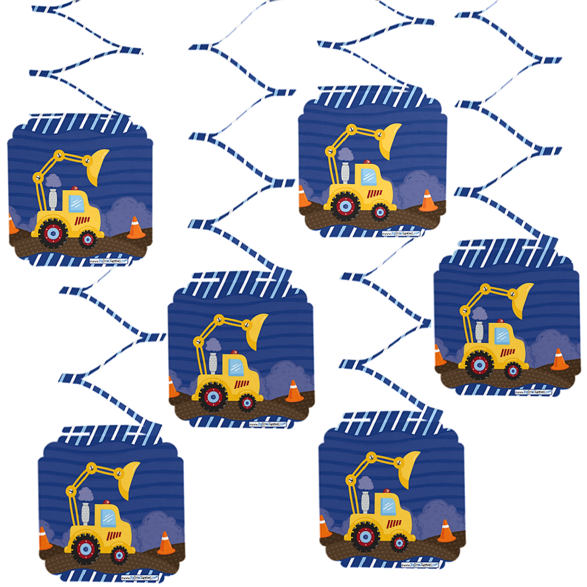 Construction Truck - Baby Shower or Birthday Party Hanging Decorations - 6 Count