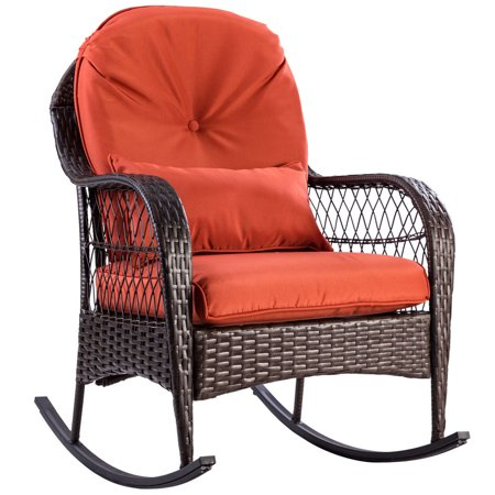 Gymax Patio Rattan Wicker Rocking Chair Porch Deck Rocker Outdoor Furniture W/ Cushion