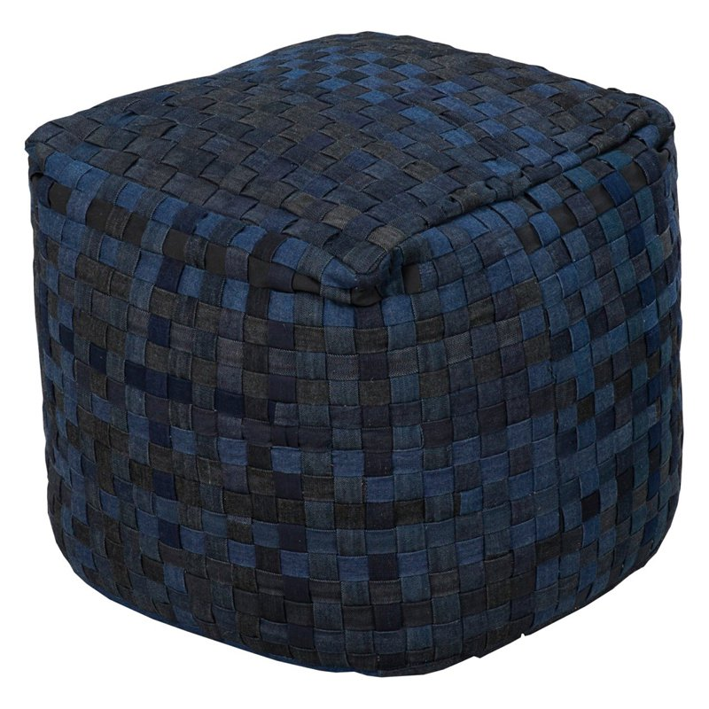 Surya 18 in. Cube Polyester Pouf by Surya Rugs
