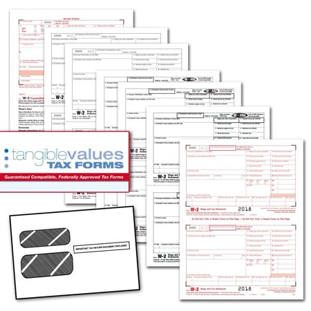 - Tangible Values W-2 Laser Tax Forms (6-Part) Kit with Envelopes for 50 Employees (2018)