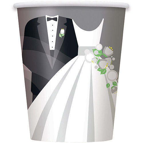 Silver Wedding Paper Cups, 9 oz, 8ct
