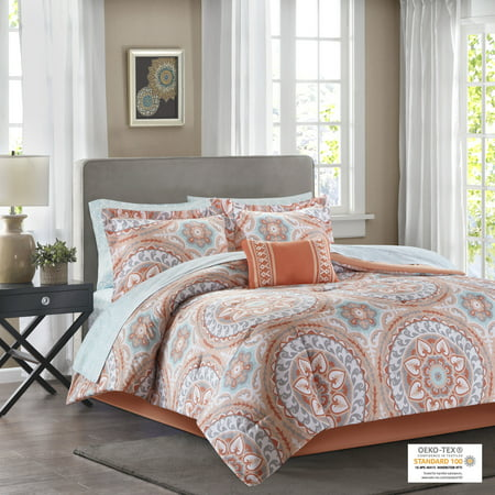 Home Essence Nepal Bed in a Bag Comforter Bedding Set, Orange, King