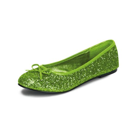 Womens Bright Lime Green Ballet Flats with Glitter and Bow Detail No Heel Shoes - Green Flats
