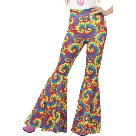 Adult's Womens 70s Flared Groovy Tie Dye Disco Pants - 70s Party Costumes