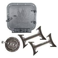 BK100E Barrel Stove Kit, 2 Pieces, 6 in Round Flue Collar, 10 X 11 in Door Opening by Garage Heaters
