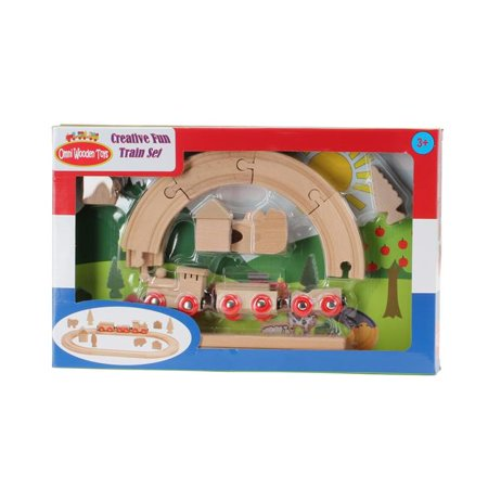 Omni Wooden Toys 964015NC Non Color Decorate Your Own Train Set - 23 Piece