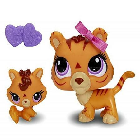 Littlest Pet Shop Figures Orange Tiger & Baby Tiger (Littlest Pet Shop Collie)