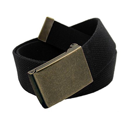 Men's Antique Brass Flip Top Military Belt Buckle with Canvas Web Belt  XXX-Large Black