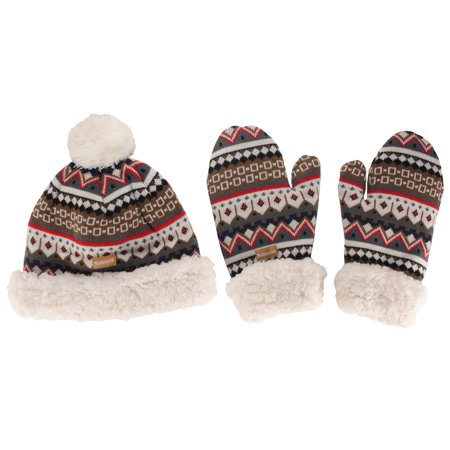 Women's Classic Winter Fleeced Thermal Pom Pom Beanie Hat and Mittens Set, Brown Pattern
