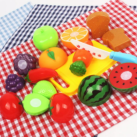 Moaere 20Pcs Kitchen Toys Fun Cutting Fruits Vegetables Pretend Food Playset for Children Girls Boys Educational Early Age Basic Skills Development (Halloween Fun Food For Kids)