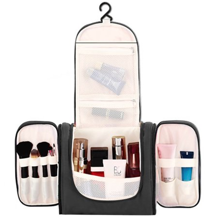 Toiletries Travel Bag Women's Hanging Bathroom Makeup & Cosmetics Organizer Bag by CoreLife - Black