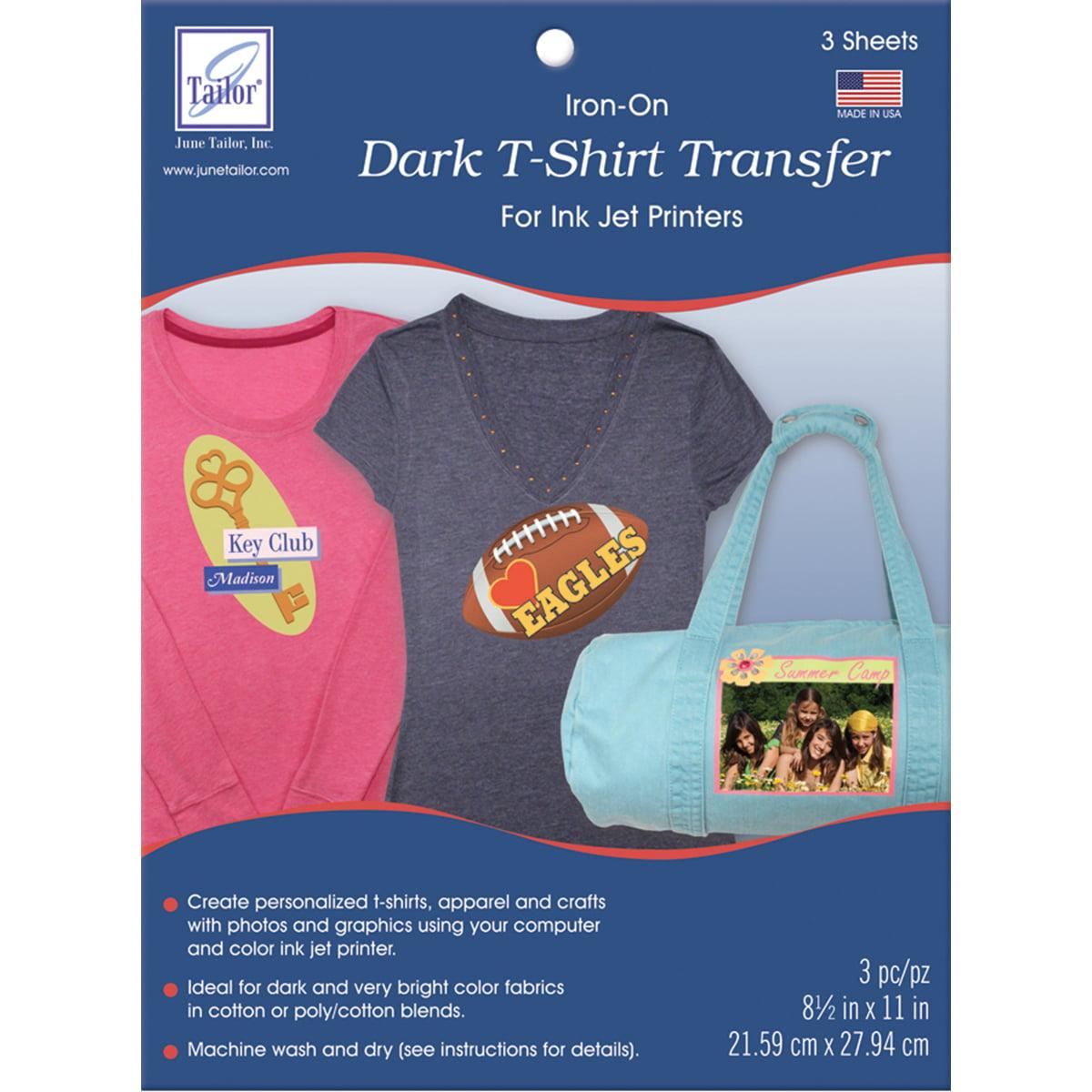 "Dark T-Shirt Iron-On Ink Jet Transfer Sheets 8.5""X11"" 3/Pkg-"