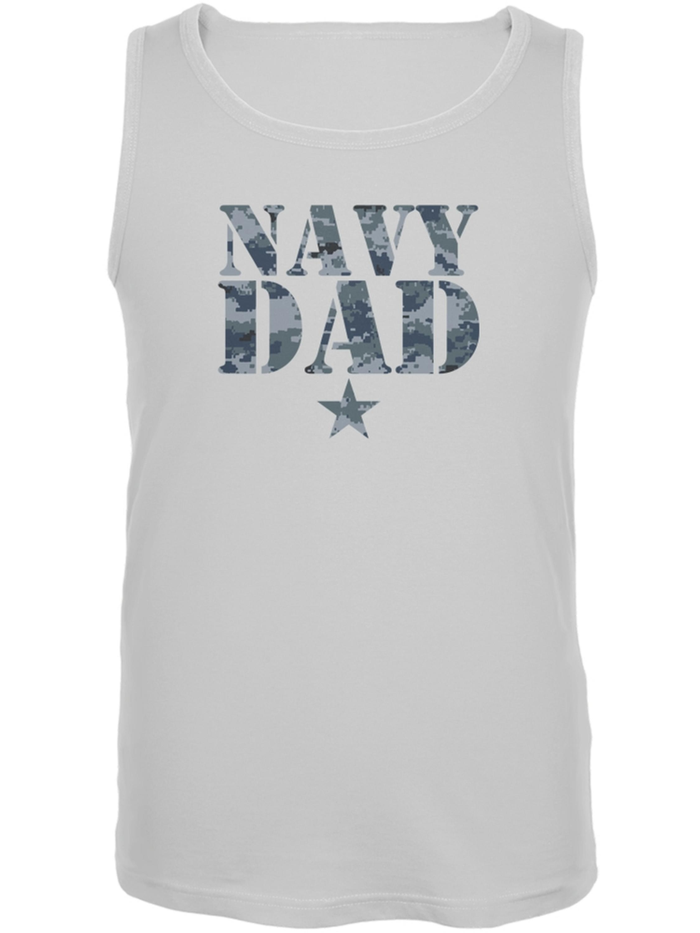 Navy Dad White Adult Tank Top