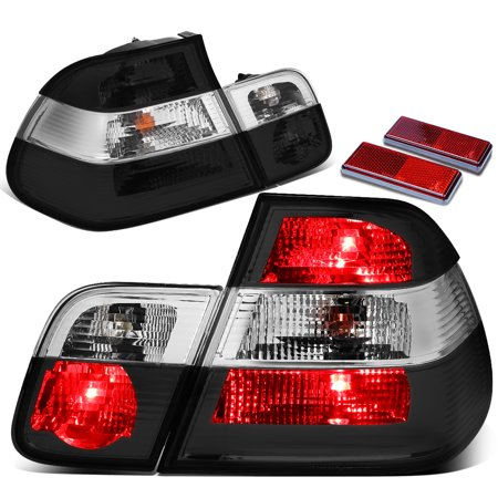For 1999 to 2005 BMW E46 320i 323i 325i 328i 330ix 4 Door Sedan Pair Inner + Outer Tail Brake Light Reverse Lamps Smoked / Clear 00 01 02 03 04