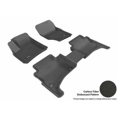 3D MAXpider 2003-2010 Porsche Cayenne Front & Second Row Set All Weather Floor Liners in Black with Carbon Fiber (Porsche Cayenne Rubber)