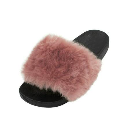 LAVRA - LAVRA Women s Faux Fur Slide Slip Sandals - Walmart.com 7a12211ccd