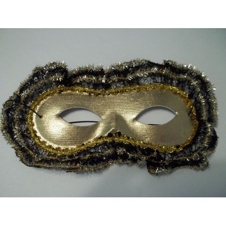 Gold Lace Trim Mardi Gras Mask Masquerade Ball Party](Mens Masquerade Ball Attire)