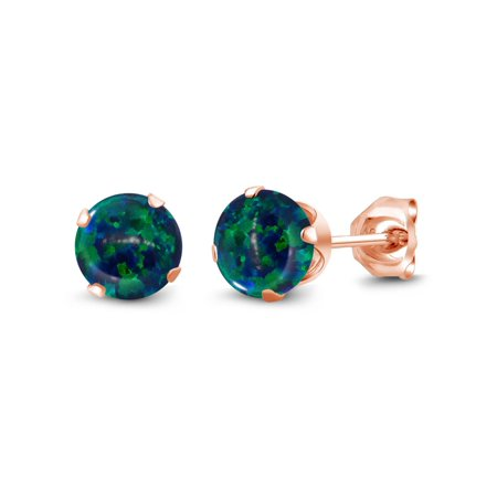 1.00 Ct Cabochon Green Simulated Opal 18K Rose Gold Plated Silver Stud Earrings