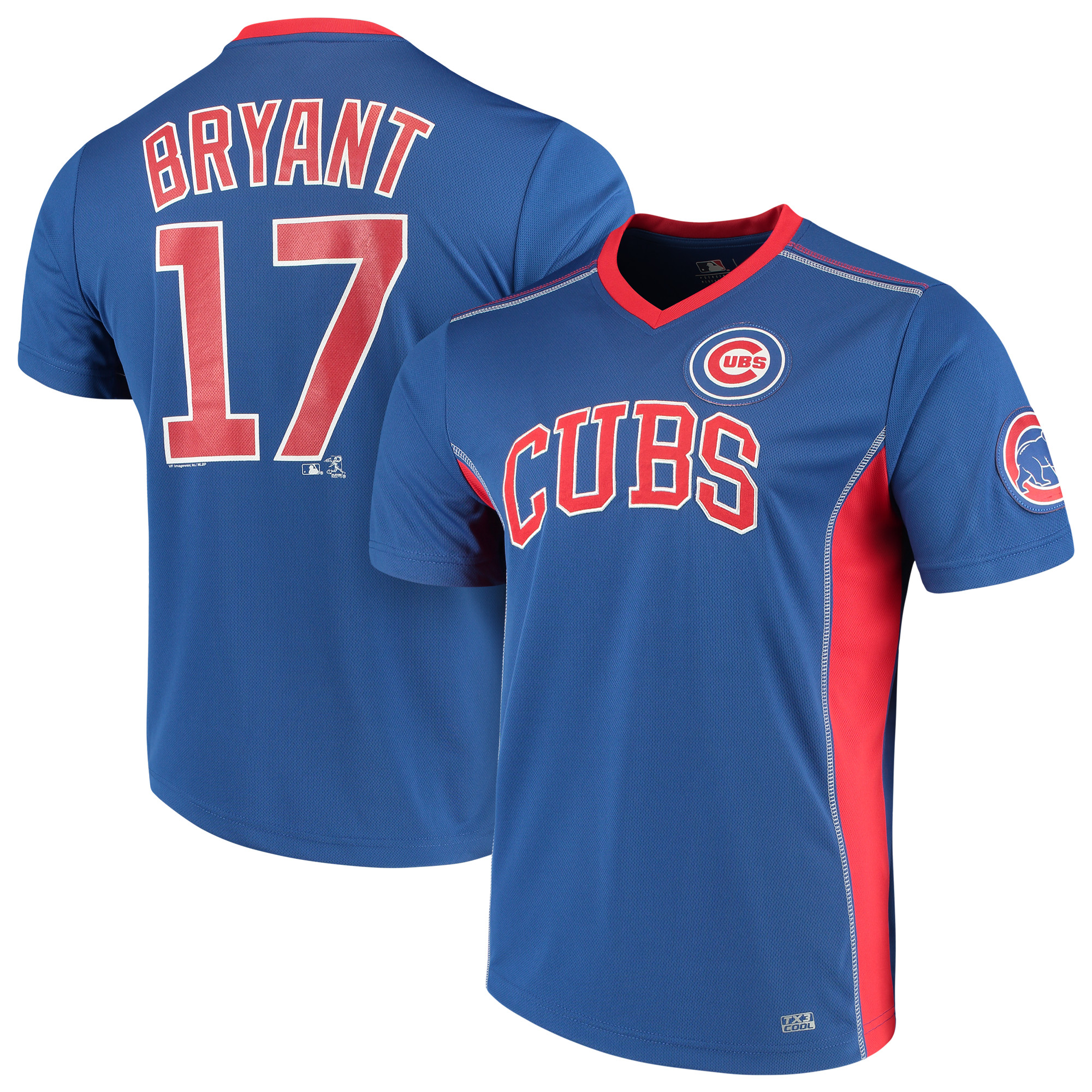 Men's Majestic Kris Bryant Royal Chicago Cubs Player Name & Number Cool Base V-Neck T-Shirt by MAJESTIC LSG