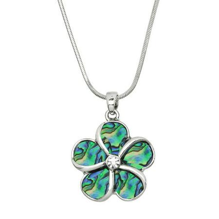 Abalone Flower Pendant Necklace Rhodium High Polished J0439