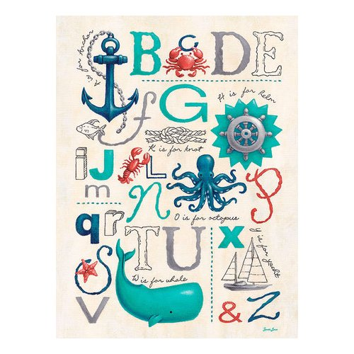 Oopsy Daisy Nautical ABCs by Sarah Lowe Canvas Art