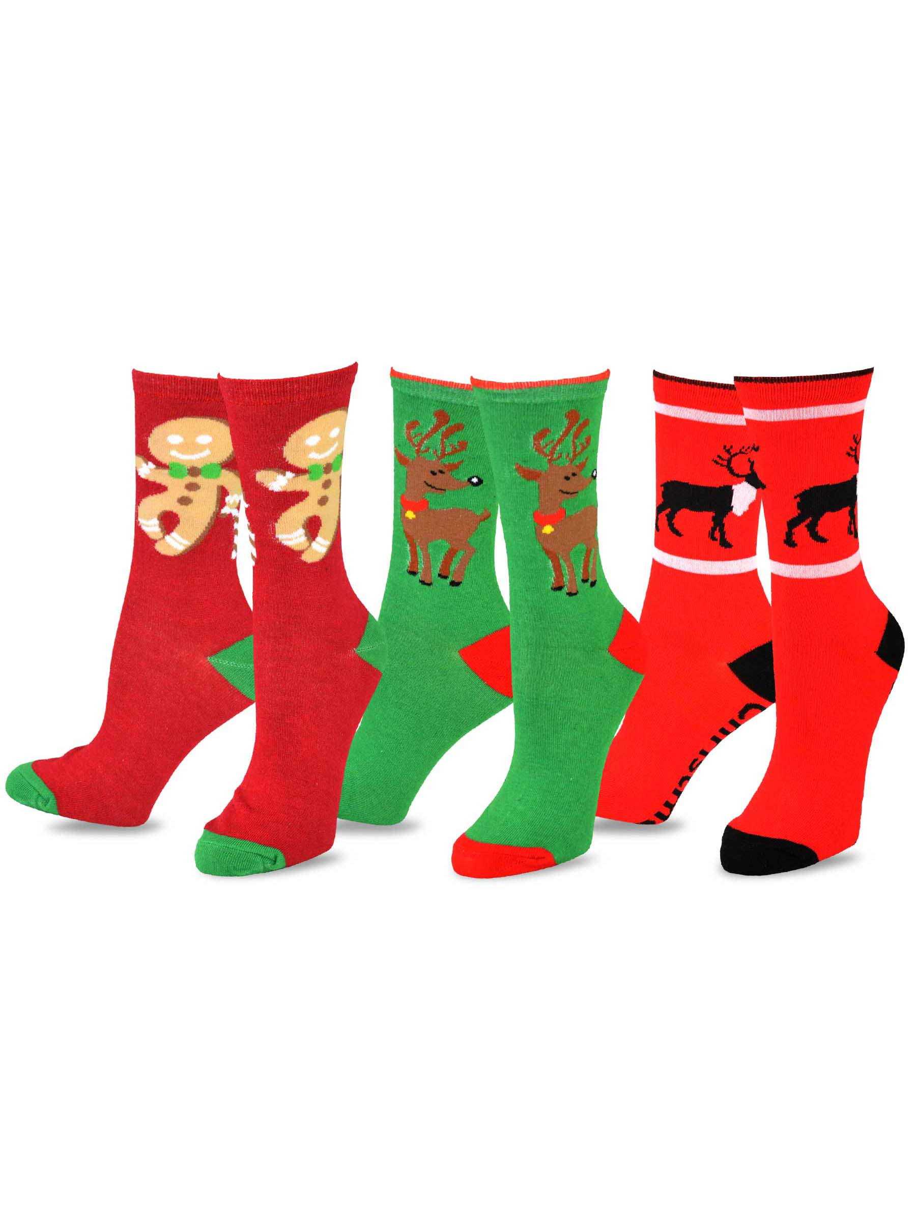 TeeHee and Holiday Fun Crew Socks for Women 3-Pack