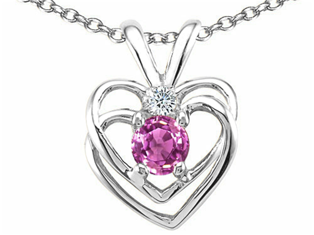 Tommaso Design Round 4mm Genuine Pink Tourmaline Heart Pendant Necklace by