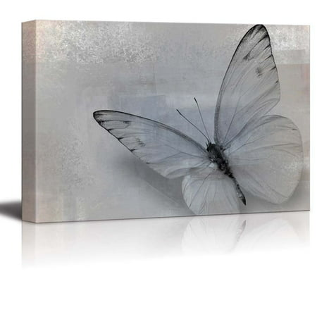 wall26 Elegant Photo of a Single Butterfly in Gray and Black - Canvas Art Home Decor - 12x18 - Butterfly Canvas