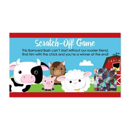 Farm Animals - Barnyard Baby Shower or Birthday Party Game Scratch Off Cards - 22 - Farm Birthday Party