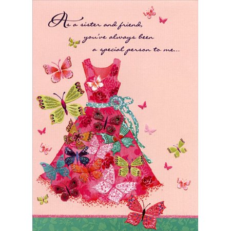 Designer Greetings Butterflies and Red Dress: Sister Mother's Day