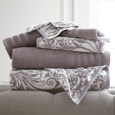 Image of 6 pc Yarn Dyed towel Filigree Swirl Ash Grey