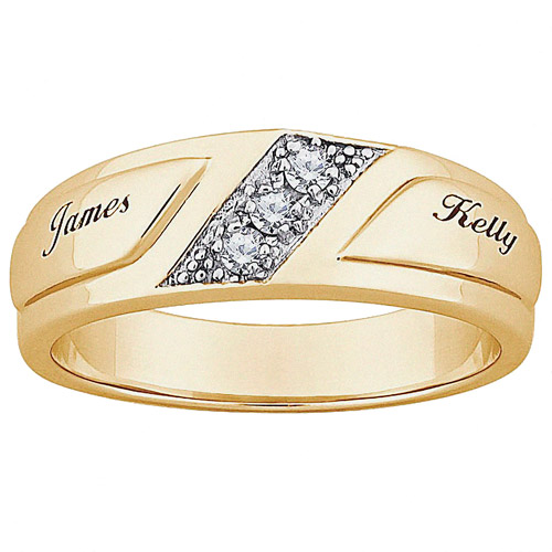 Personalized Mens CZ 10kt Gold Engraved Name Wedding Ring