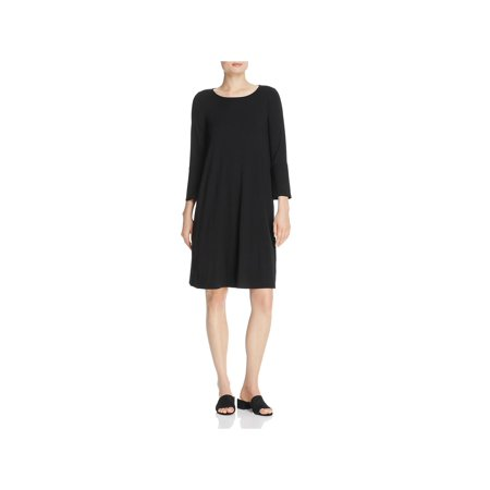 Eileen Fisher Long Silk - Eileen Fisher Womens Boat Neck Bell Sleeves Shirtdress