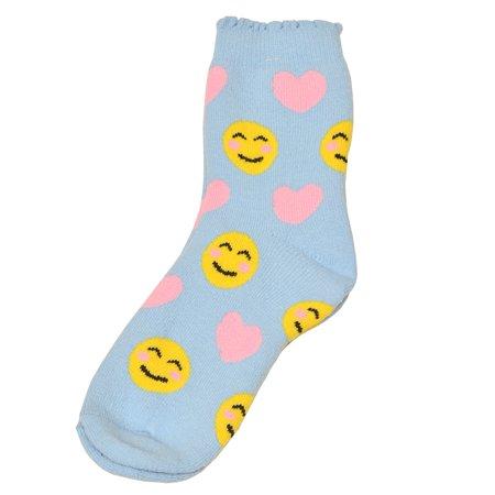 Trendy Socks (Alexa Rose Girls Light Blue Yellow Emoticon Patterned Trendy Socks)