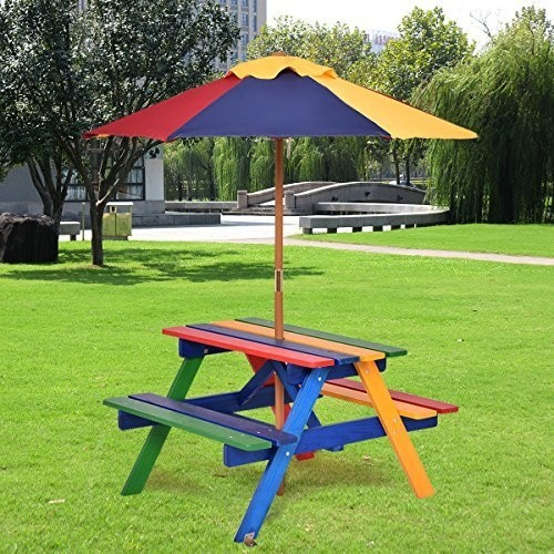 4 Seat Kids Picnic Folding Garden Umbrella Table by Costway