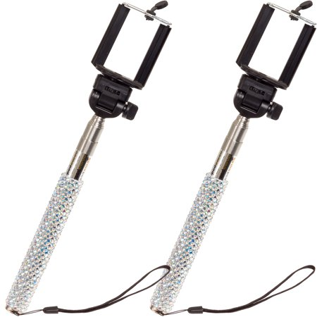 Crystal Case Extendable Handheld Crystallized Selfie Stick 2 Pack (Iridescent)