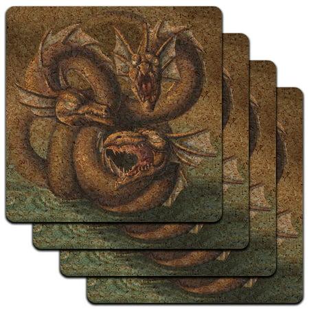 Hydra in Water Sea Monster Dragon Serpent Fantasy Low Profile Cork Coaster Set (Hydra Dragon)