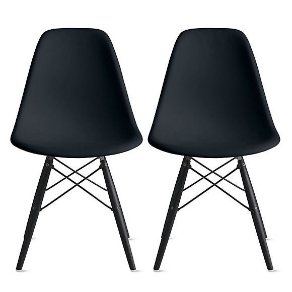 2xhome - Set of 2 (Two) Black - Eames Style Side Black Dark Wood Legs Eiffel Dining Room Chair - Lounge Chair No Arm Armless Less Chairs Seats Molded Plastic