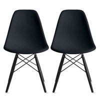 2xhome Set of 2 (Two) Black Eames Style Side Black Dark Wood Legs Eiffel Dining Room Chair Lounge Chair No Arm Armless... by 2xhome