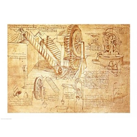 Facsimile Of Codex Atlanticus Screws And Water Wheels Poster Print By Leonardo Da Vinci  24 X 18