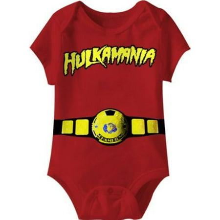 Hulkamania World Champ Costume Red Snapsuit Infant Onesie Baby Romper